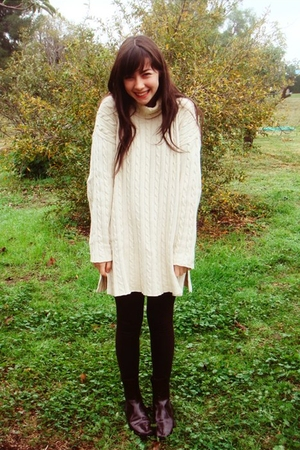 Brown Dress with White Sweater Leggings