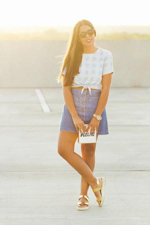 Sky Blue Asos Tops Navy Zara Skirts Gold Bakers Sandals