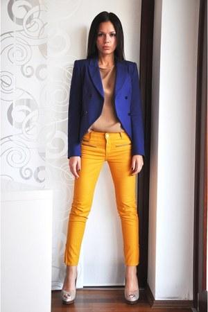 Navy Zara Blazers Tan Zara Shirts Gold Zara Pants Beige