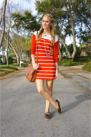 Red Striped Terry Old Navy Dresses, Brown Boat Shoes Sperry Shoes ...