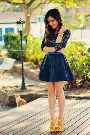 Navy Dresses Yellow Sandals Quot Blue Dress Quot By Blogdale