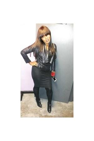 Black Suede Zara Zipper Booties Boots, Black Zara Midi ...