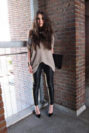 Black Leather Muubaa Pants Light Pink H Amp M Jumpers
