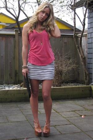 Hot Pink Tank Top Garage Shirts Off White Worn As Skirt