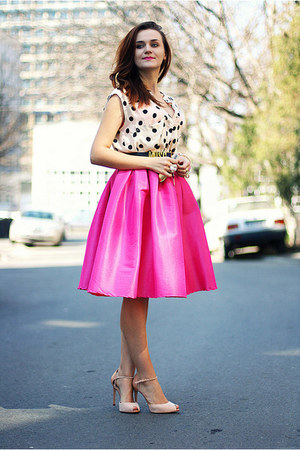 Hot Pink Midi Sheinside Skirts Nude Zara Shoes Cream