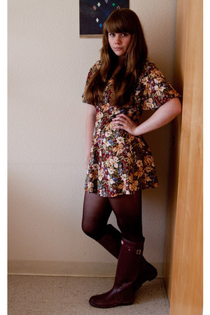 6c0bc3b51f0 Crimson Floral Thrifted Dresses, Maroon Hunter Boots, Dark Brown ...