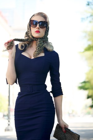 ceffaa0884df Daytime chic navy pinup girl clothing dress light brown silk vintage scarf  jpg 300x450 Pin up