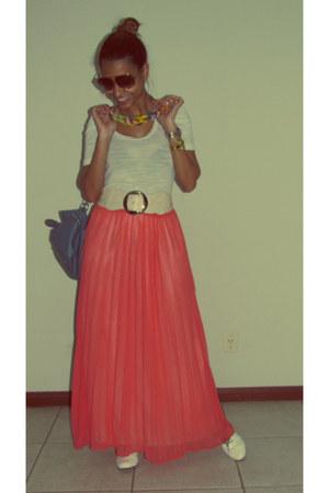 light orange maxi skirts white shoes turquoise blue