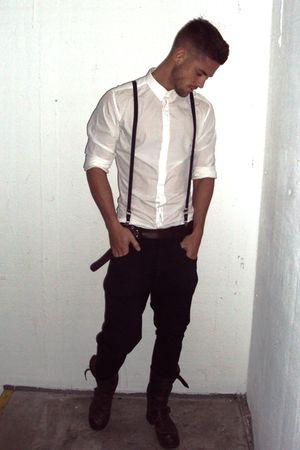 Men 39 s black allsaints jeans white dolce gabanna shirts for White shirt black pants