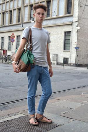 Men S Teal Zara Bags Blue Frav Jeans Light Brown