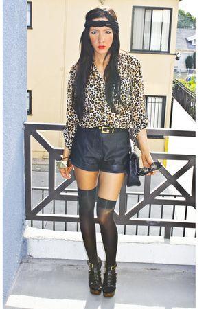 White Leopard H&M Blouses, Black Target Tights, Black ...