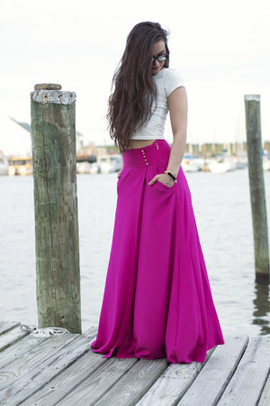 Hot Pink Maxi Tory Burch Skirts, White Crop Top Forever 21 ...