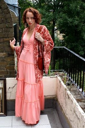 01ef68aad18 Peach Maxi Vintage 70s Dresses