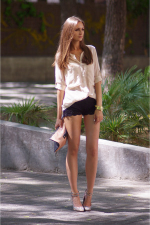 "Black DIY Shorts, Beige VJs, Style Shirts, Camel Asos Bags, Tan Asos Heels | ""Lace Shorts"" by ..."