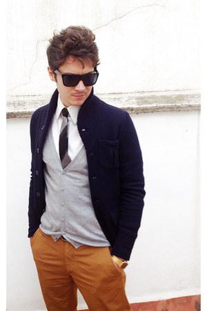 Men S Navy Zara Jackets White Zara Shirts Heather Gray
