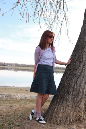 Light Purple Gingham Thrifted Shirts, White Saddle Oxfords Payless Shoes | Dear Frannie Friday--Going Vegetarian Family Meal Tips by Frannie_Pantz