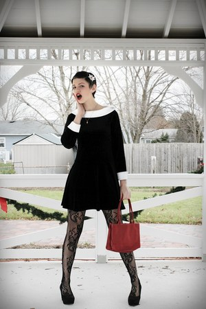 Black Velvet Dress Dresses Black Tights Brick Red Red