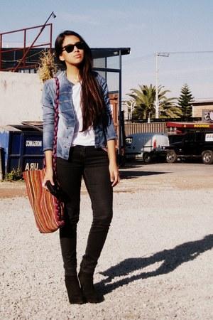 Black Zara Boots, Denim Jacket Bershka Jackets, Black Zara ...