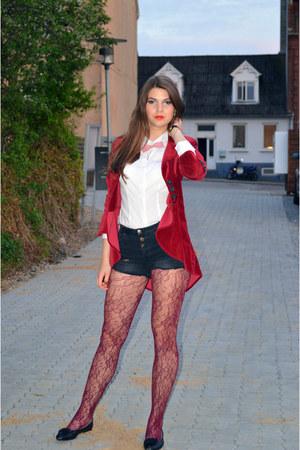 Ruby Red Velvet Blazers Black Pull Amp Bear Shorts White