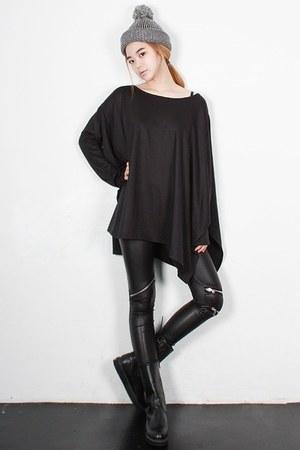 Korean Fashion Leggings Quot Black Zipper Faux Leather