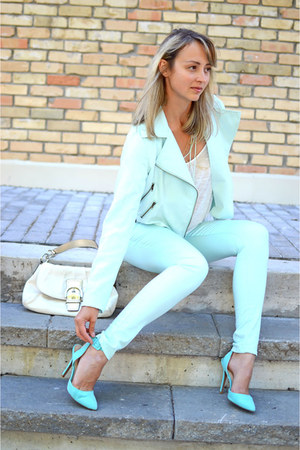 Light Blue Vero Moda Jeans Aquamarine Qupid Shoes | u0026quot;Monochromatic Minty Outfitu0026quot; by ...