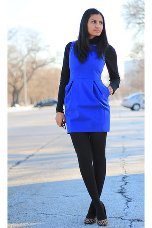 Royal Blue Zara Dresses Black Gap Tights Turtleneck Old