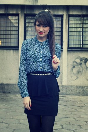 sky blue shirts black skirts quot blue leopard print quot by