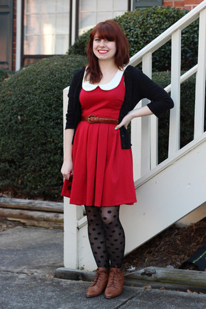 Red Modcloth Dresses Brown Laces Up Vintage Boots Black