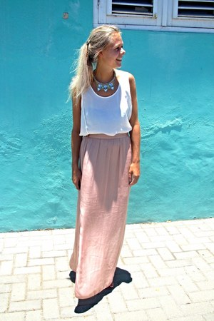 Light Pink Silk Maxi Skirts Pastel By Jint Chictopia
