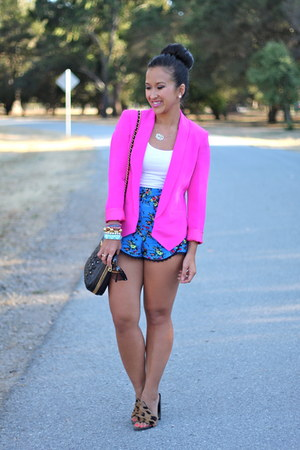 Neon Pink Truth And Pride Blazers Blue Floral Urban #2: neon pink truth and pride blazer blue floral urban outfitters shorts