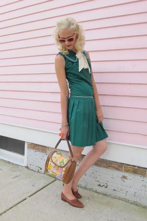 Teal 60s Dropwaist Vintage Dresses Brown Vintage Shoes