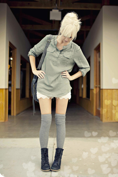 black asos boots - off white lace nastygal shorts - olive green Urban Outfitters