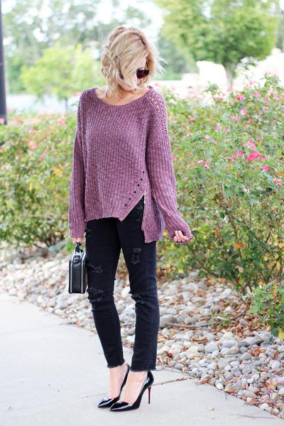 zipper sweater and black denim