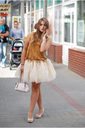 Cream Tulle Skirt Sheinside Skirts Light Orange Suede Top