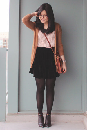 Black Velvet American Apparel Skirts Black Ankle Boots