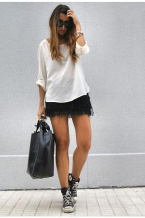 black fringe bershka skirts ivory silk zara shirts black