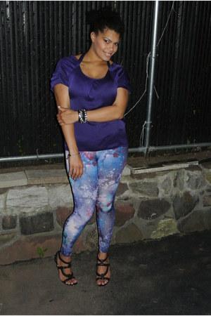 Purple Galaxy Mandees Leggings, Deep Purple Tie Back Gap ...