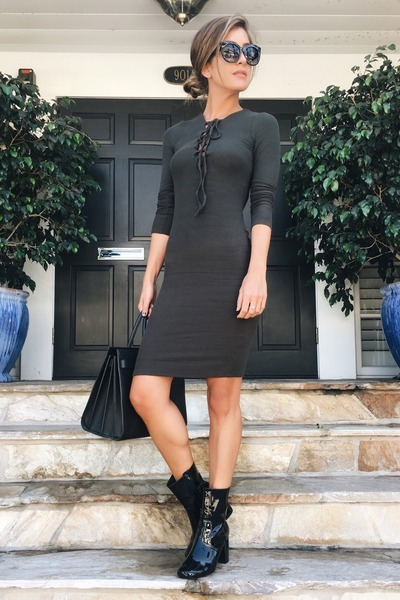olive lace up body con dress