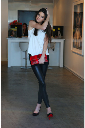 Red Striped Bags Black Leggings White Simple Tops Black Heels | u0026quot;LOVE THIS OUTFIT.u0026quot; by ...