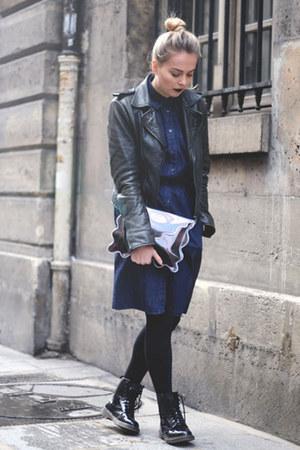 Navy Denim Prada Dresses Black Shiny Dr Martens Boots