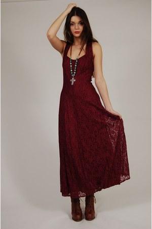 Dresses Quot Vintage 80s Burgundy Lace Maxi Dress Quot By