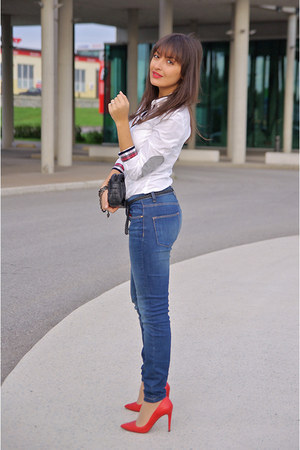 Red Red Shoes Zara Heels Blue Denim Jeans Zara Jeans | u0026quot;Back to Basicsu0026quot; by Lucine | Chictopia