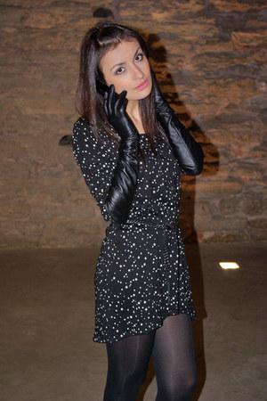 Black Star Print Zara Dresses, Black Long Gloves Monton Gloves ...