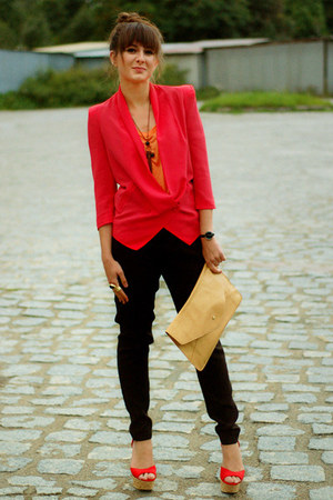 red romwe blazers nude romwe bags carrot orange lookbookstorecom tops lady in red blazer. Black Bedroom Furniture Sets. Home Design Ideas