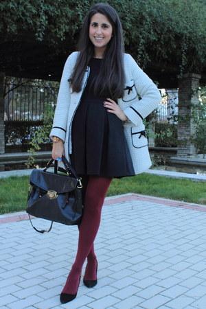 Black dresses crimson tights quot burgundy tights quot by mariatrschic2571