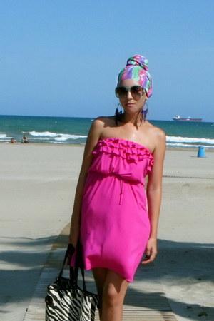 Hot Pink Mango Dresses Aquamarine Scarves Black Zebra