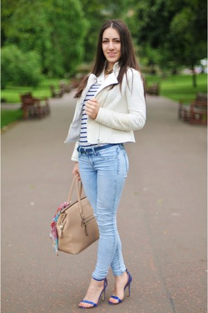 White Jackets Skinny Jeans Jeans Tan Hand Bags Blue