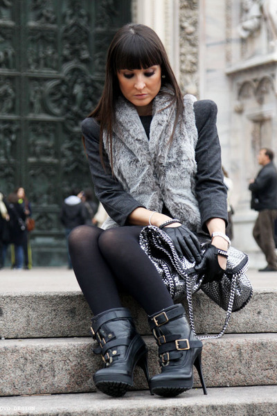 gray Zara dress - gray Motivi vest - black Burberry Prorsum boots - silver Stell
