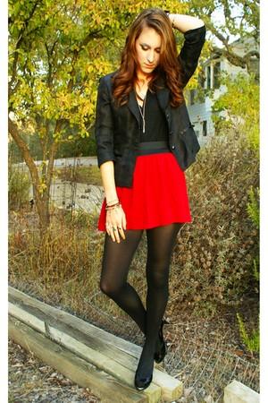 Black Blazers Red Forever 21 Skirts Black Stockings