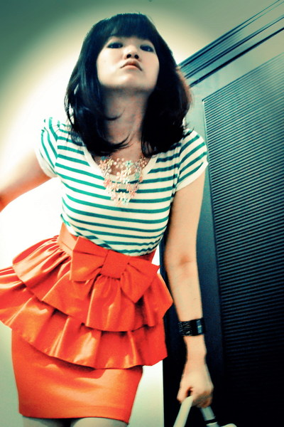 green Zara top - orange River Island skirt - white random brand shoes - Forever2